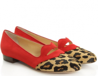 Charlotte Olympia Bisoux Red Suede Leopard Lip Pump