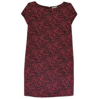 Saint Laurent red and black heart printed crepe short  dress
