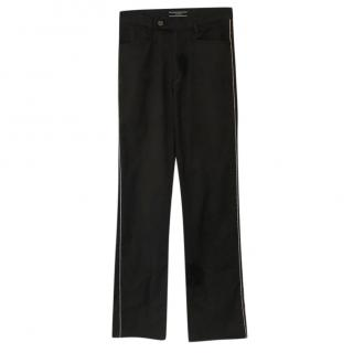 Joseph black cotton blend trousers with silver piping trim