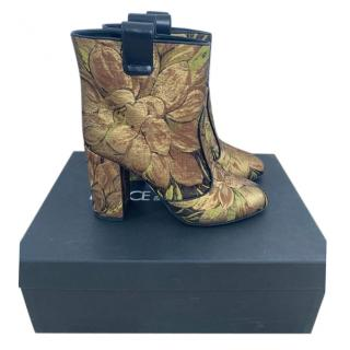 Dolce & Gabbana Floral Brocade Ankle Boots