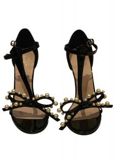 Red Valentino faux pearl embellished black sandals