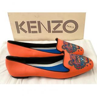 Kenzo orange neoprene tiger face flats