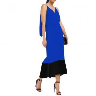 Roland Mouret  Beadlow Two-tone Crepe Midi Dress