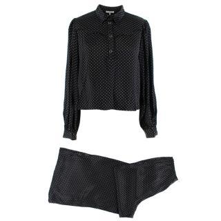 Ganni Black Micro Polka Dot Satin Wide Leg Pants & Blouse