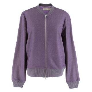 Dries Van Noten Women's Purple Knit Sparkle Bomber Jacket