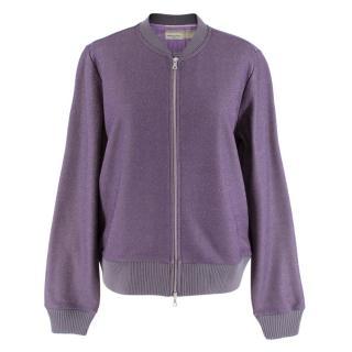 Dries Van Noten Women's Purple Knit Sparkle Bomber Jacket