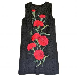 Dolce & Gabbana Black Jacquard Floral Print Sleeveless Dress