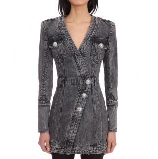 Balmain black denim dress with silver-tone buttons