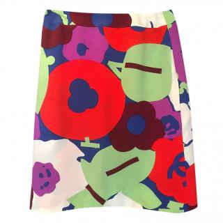 Chanel Multi-Colour Printed Silk A-Line Skirt