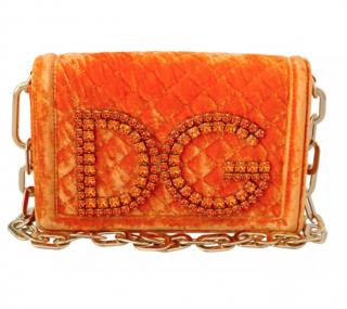 Dolce & Gabbana DG Girls Crystal Embellished Orange Shoulder Bag