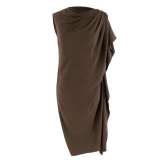 Lanvin Brown Ruched Asymmetric Dress