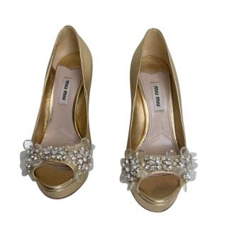Miu Miu Gold Peep-Toe Crystal Pumps