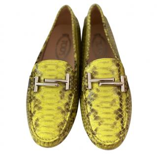Tod's Yellow Snakeskin Loafers