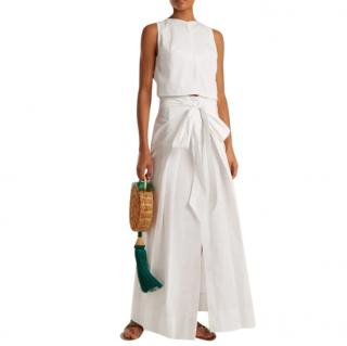 Kalita Saltwater Tie-back Cotton-poplin Top In White