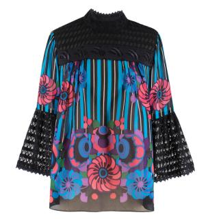 Anna Sui Embroidered High Neck Printed Sheer Top
