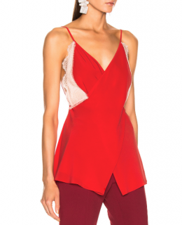 Victoria Beckham Lace Cross Front Cami Top in Tomato