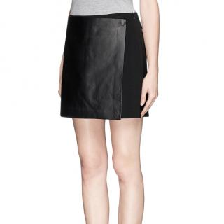 Theory Black Stila Front Wrap Leather Skirt