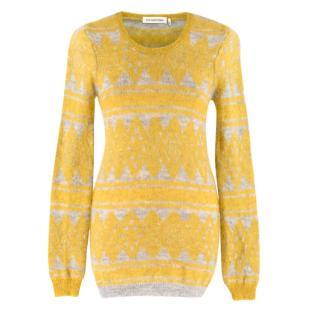 Isabel Marant Etoile yellow & grey mohair jumper