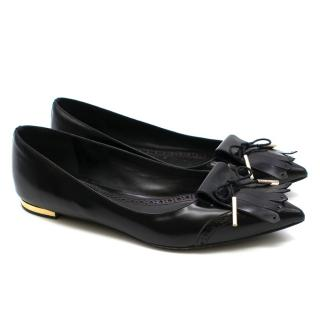 Burberry black fringed pointed toe ballerina flats