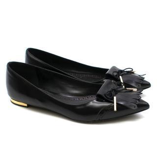 Burberry black fringed pointed toe ballerina flats