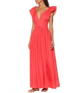 Kalita Coral Persephone Linen Maxi Dress
