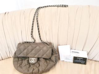 Chanel taupe quilted leather shoulder bag