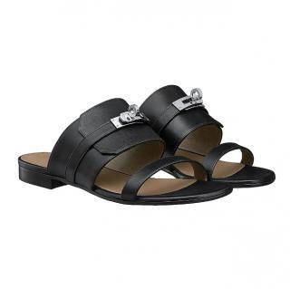 Hermes black leather sandals avenue