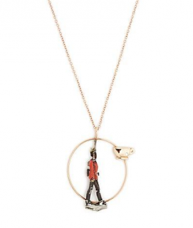 Francesca Villa Diamond & Rose-gold Toy Soldier Necklace In Red
