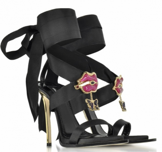 DSquared2 Satin Jeweled Sandals with Lips Applique