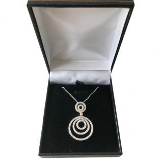 Damas White Gold Diamond Double Circle Pendant Necklace
