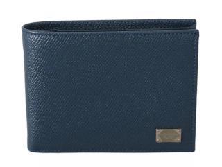 Dolce & Gabbana Men's Blue Saffiano Bi-Fold Wallet