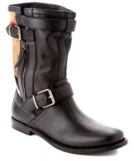 Burberry Black Grantville Leather Check Boots