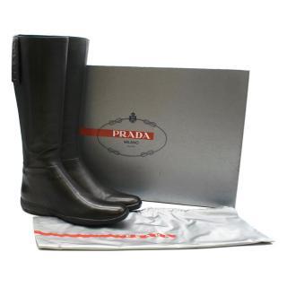 Prada Sport Black Leather Flat Knee Boots
