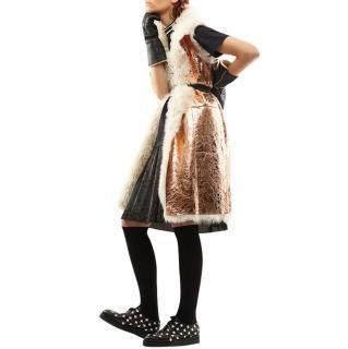 Marni Lambskin Folk Laminated Shearling Waistcoat