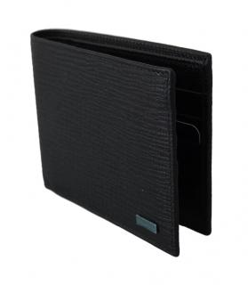 Dolce & Gabbana Black Grained Leather Black Bi-Fold Wallet
