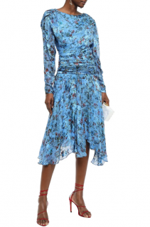 Preen by Thornton Bregazzi Kelsey ruched floral-print devor� dress