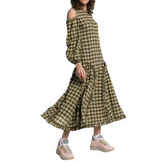 Ganni Khaki Charron Cold-Shoulder Maxi Dress