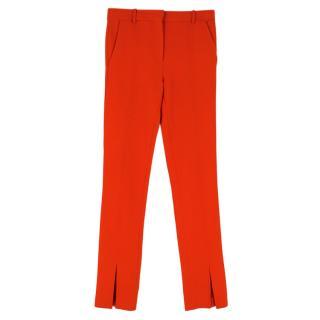 Victoria Beckham Red Tailored Ankle Split Trousers