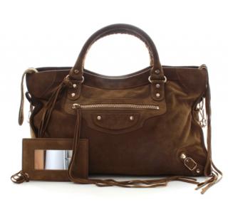 Balenciaga Suede City M Shoulder Bag
