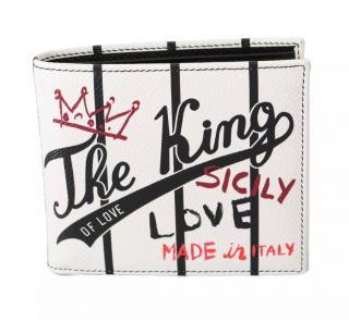 Dolce & Gabbana Men's White Striped Bi-Fold Wallet