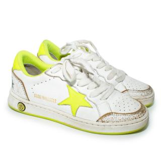 Golden Goose White & Neon Ballstar Trainers