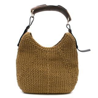 Yves Saint Laurent Tan Woven Mombasa Horn Bag