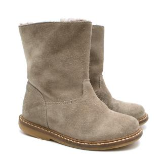 Bonpoint kids grey suede shearling lined boots