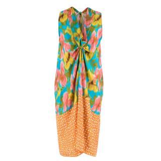 Dries Van Noten Printed Silk Knot Front Dress