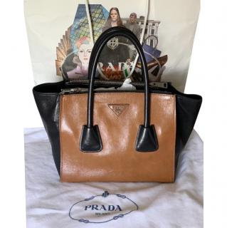 Prada Leather Two-Tone Small Tote Bag