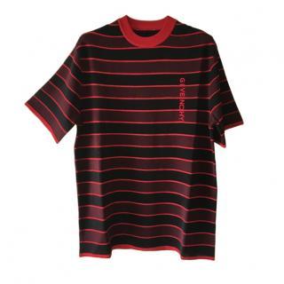 Givenchy Red & Black Striped Logo T-Shirt