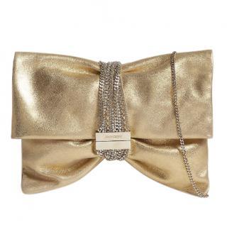 Jimmy Choo Chandra metallic leather chain clutch