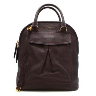 Burberry Prorsum Burgundy Grained Leather Tote Bag