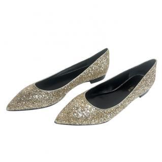 Saint Laurent Gold Glitter Pointed Toe Ballerinas