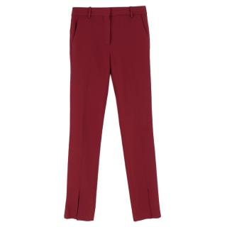 Victoria Beckham Burgundy Tailored Ankle Split Trousers